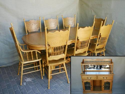 Tables 8 seater oak colonial dining room suite with for 8 seater dining room suites