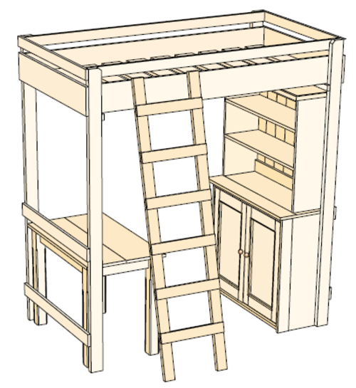 Crafts hobbies woodwork plan for pine bunk bed desk Loft bed plans
