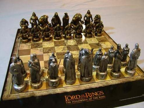 Chess draughts checkers lord of the rings chess set pewter bronze effect was sold for - Lord of the rings chess set for sale ...