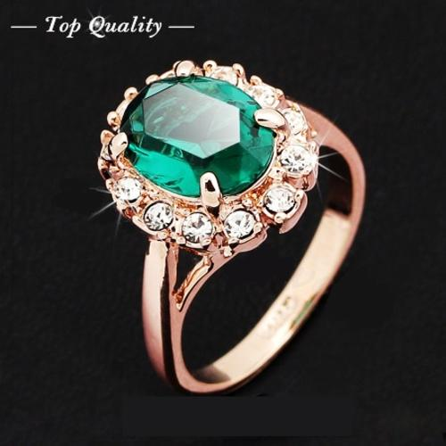 18k rose gold emerald green ring elegant jewelry cz diamond austrian