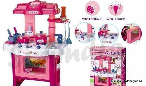 Kitchen play set for little girls with light sound for Little girl kitchen set