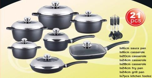 Cookware Sets Quot Dessini Quot 21 Piece Die Cast Aluminum