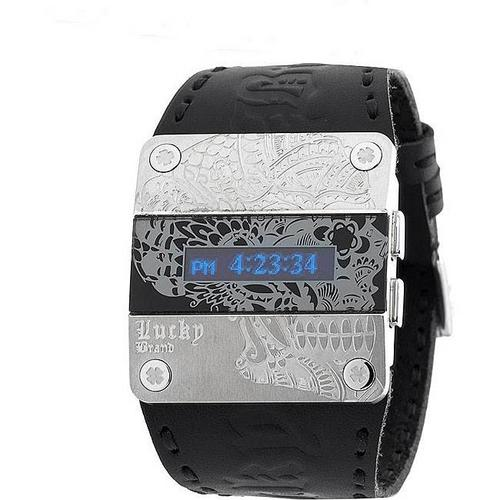s watches lucky brand digital black leather band