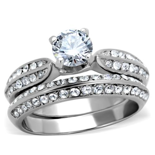 BEAUTIFUL 18K WHITE GOLD PLATED SIMULATED DIAMOND WEDDING RING SET