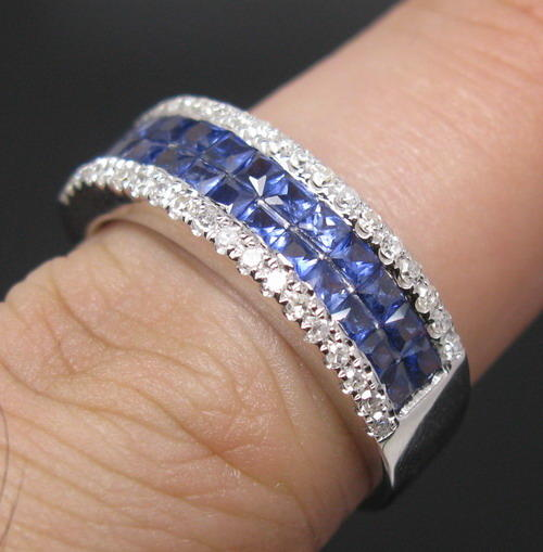 "Rings ""CERTIFICATE INCLUDED "" Solid 14K WHITE GOLD Natural Blue S"