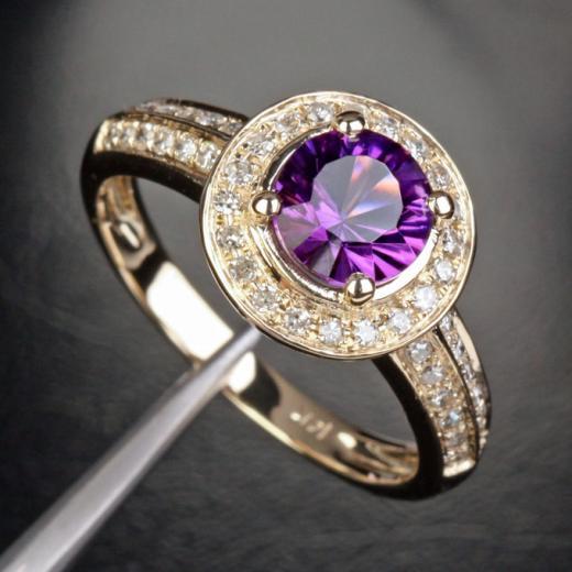 Engagement Rings VS 6 5mm Amethyst 35ctw Diamonds 14k Yellow Gold Engageme
