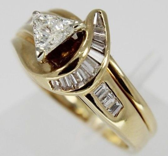 "Engagement Rings ""IN STOCK "" Estate 14Kt Yellow Gold Trillion a"