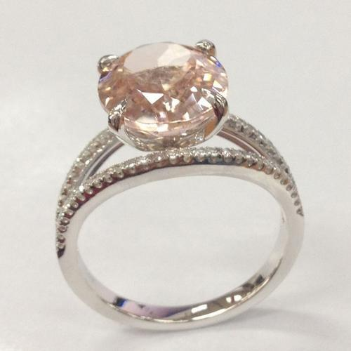 Rings 10x12mm Oval Morganite Diamond Engagement Ring in 14K White Gold Spli